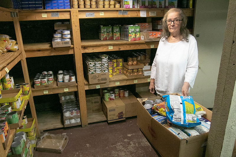 The Spanish American Center in Leomisnter had a stocked food pantry on Monday, March 16, 2020. Neddy Latimer, Director of the Spanish American Center in Leominster, talks about their food pantry on Monday. SENTINEL & ENTERPRISE/JOHN LOVE