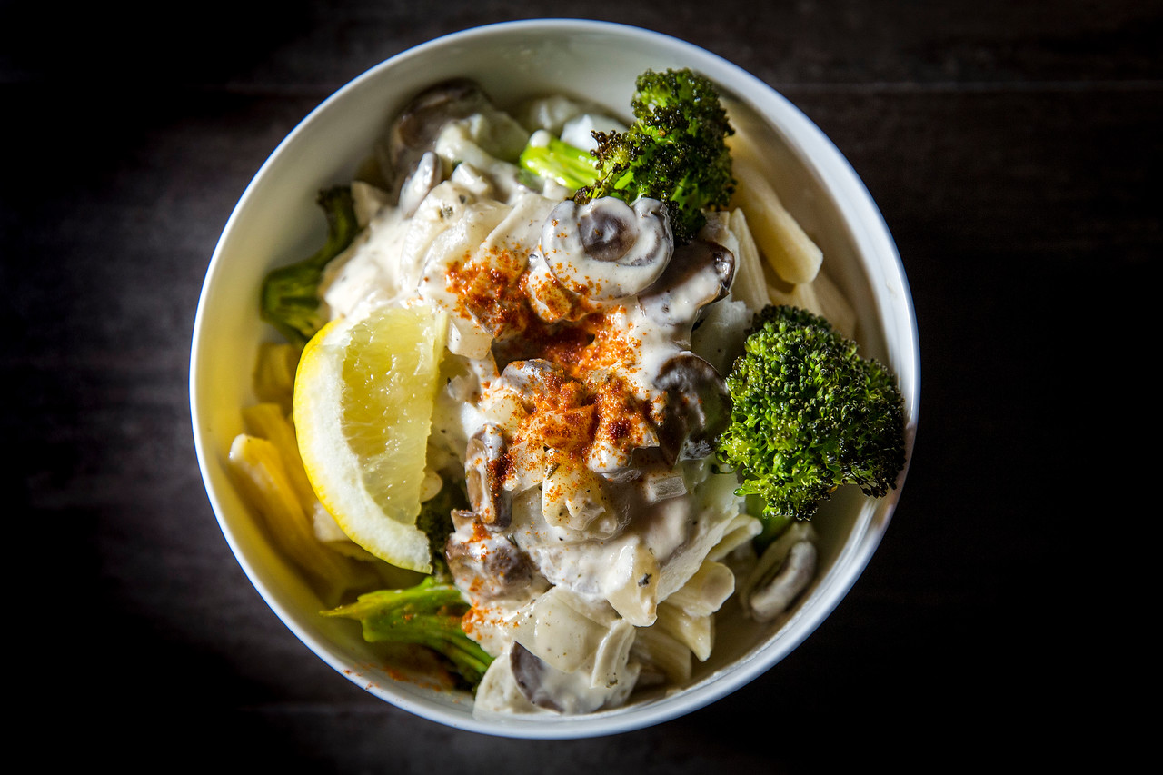 Penne Pasta with Roasted Broccoli and Cod, and Coconut Mushroom Creme Sauce