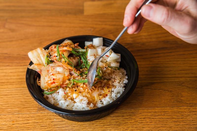 Kimchi rice bowl at Bok a Bok Fried Chicken