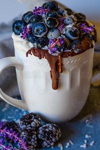 Yogurt and blueberry mug