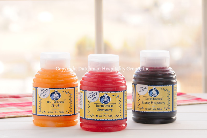Peach, Strawberry and Black Raspberry Freezer Jams
