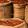 Bags of hot chili peppers, Delhi spice market, India