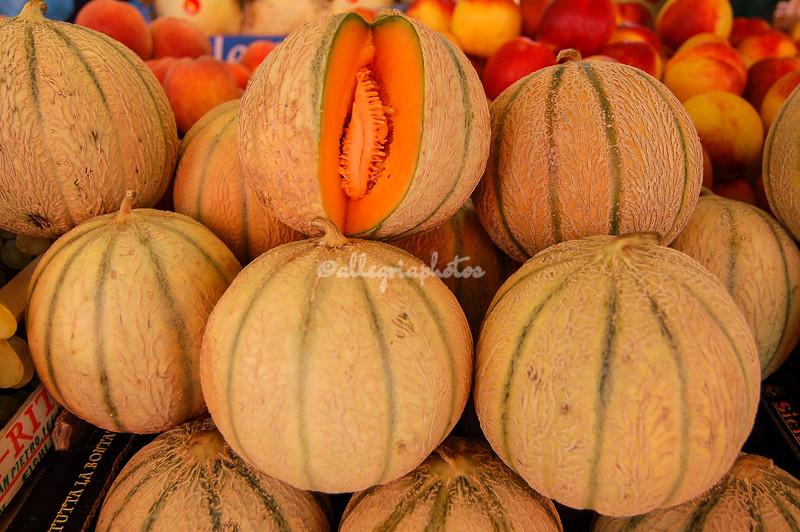 Piles of melons, Venice, Rialto food market