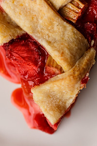 Strawberry Rhubarb Pie Slice Detail