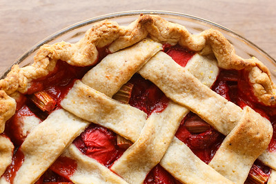 Strawberry Rhubarb Pie Baked