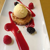Apple crumble with raspberry sauce