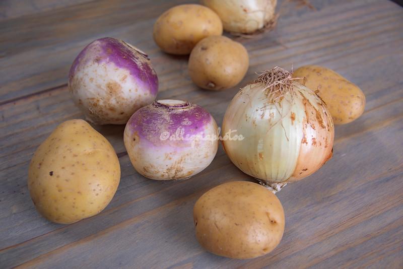 Turnips, onions, potatoes