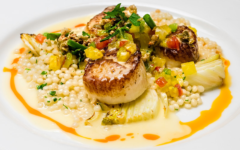 Fennel Dusted Scallops Heirloom Tomato Relish Israeli Cous Cous  Braised Fennel