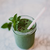green smoothie with mint and cacao nibs