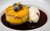 Peach Upside Down Cake with Candied Blueberries & Malted Vanilla Ice Cream