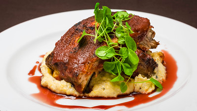 Baby Back Ribs, Cherry Bbq Sauce, Roasted Polenta