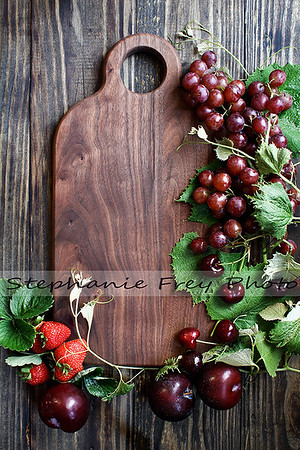 Red Organic Homegrown Fruit and Cutting Board