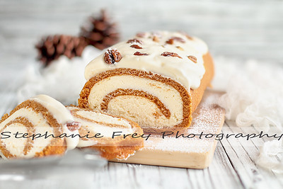 Pumpkin Roll Spice Cake with Slices