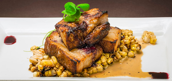 Pork Belly, Lobster Charred Corn & Blueberry Syrup