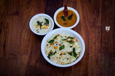 Hot pongal with chutney and sambar
