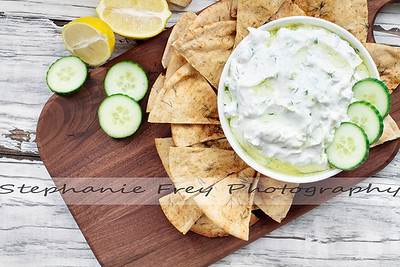 Overhead of Greek Tzatziki Dip and Za'atar Pita