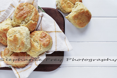 Buttermilk Southern Biscuits Over White Table