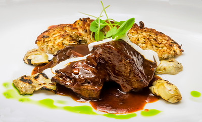 Roasted Short Ribs with Potato Pancakes, Artichoke and Rib Reduction