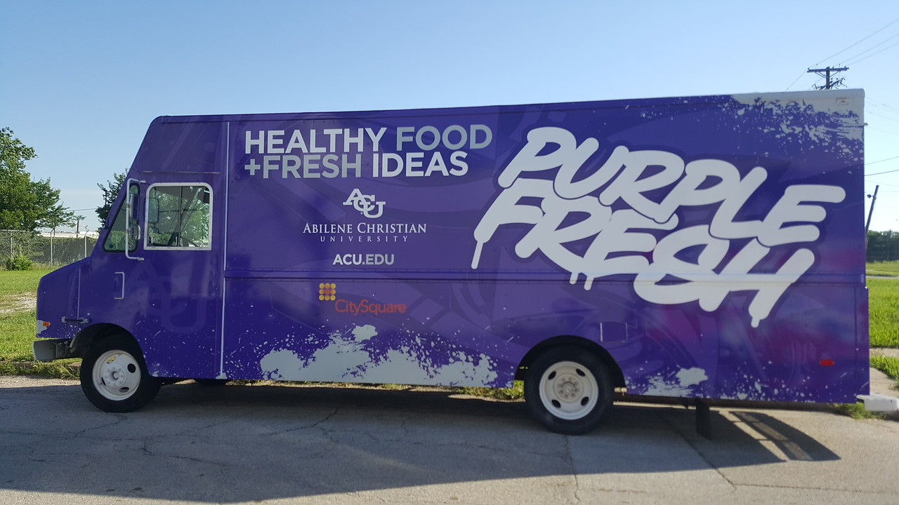 New Purple Fresh Skinzwrap Food Truck for Abilene Christian University, Dallas, TX