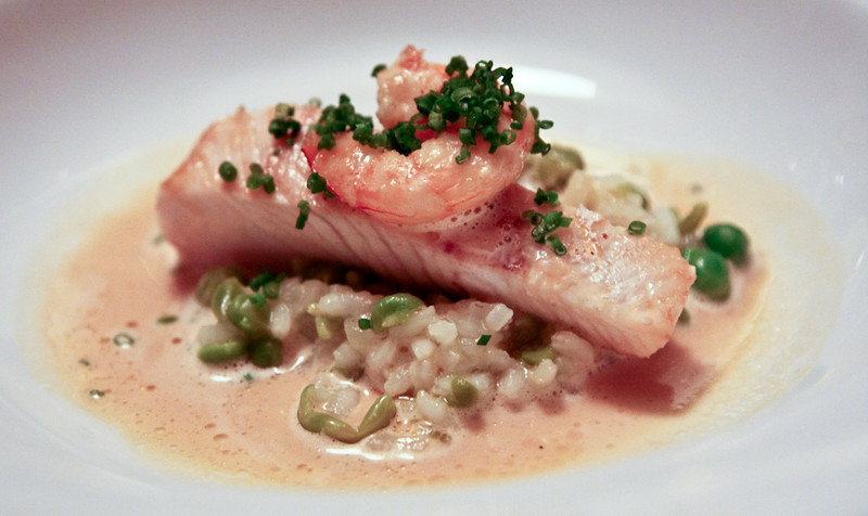 Steamed kingfish belly with prawn, pea risotto and marron bisque