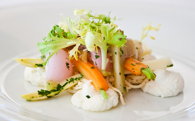 Salad of winter vegetables with buffalo ricotta and walnut vinaigrette