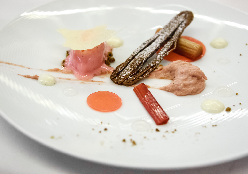 Rhubarb, rice pudding tuille, ginger beer
