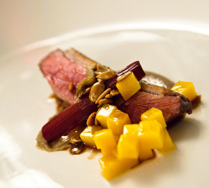 Roasted Duck Breast with Lentil Puree, Pumpkin and Rhubarb