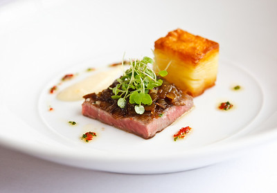 "Wagyu ""Minute Steak"", Native Pepper Berry, Shallots, Celeriac"
