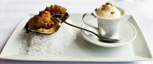 Chilled Vichyssoise, Oscietra and Salmon Caviars, Beignets of Hawkesbury Oysters