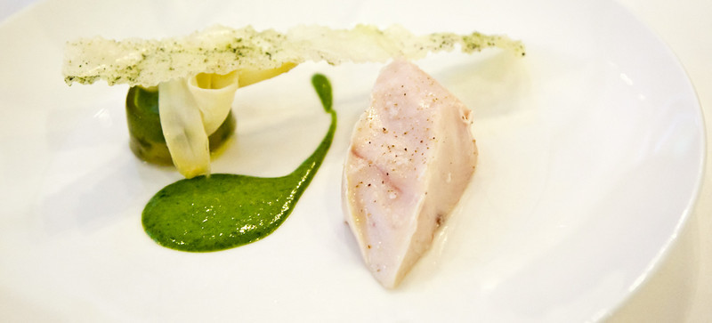 Slow cooked Kingfish, Green and White Asparagus and Crispy Seawater