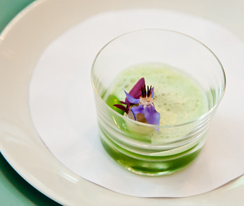 Creamy cucumber and rock oyster tartare