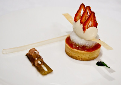 Strawberry and rhubarb tartlet, with szechuan pepper and honey ice cream