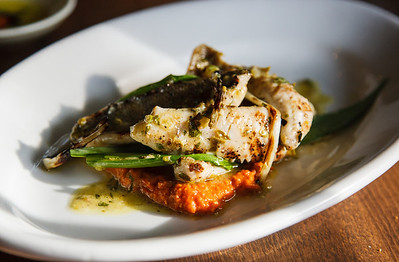 Grilled Ontario yellow perch with wild leeks and romesco