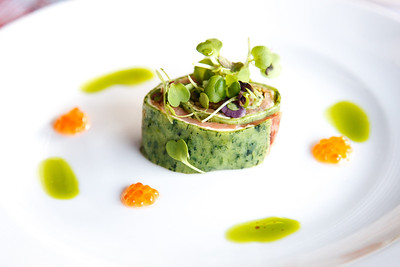 Joe Camilleri – Beppi's Spinach pasta rolled with lemon mascarpone, smoked salmon, salsa verde with ocean trout caviar micro herbs & basil