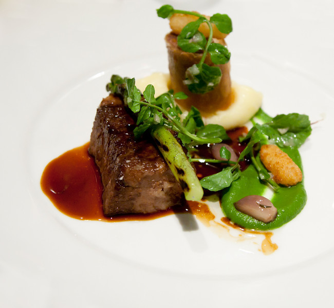 Braised Brisket of Wagyu Beef with Grilled Asparagus