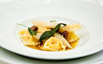 Pumpkin agnolotti with salsify, pecans, sage and brown butter sauce