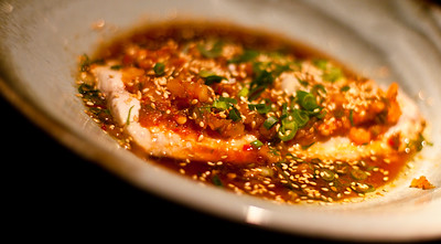 Fish drowned in heaven facing chillies and Sichuan peppercorns - Leatherjacket Sichuan style