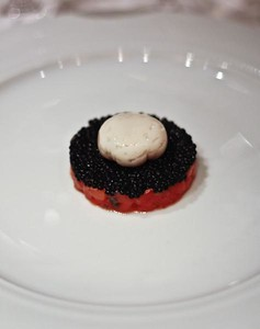 Smoked Ocean Trout and Avruga Caviar with Scallop Mousse and Quail Egg