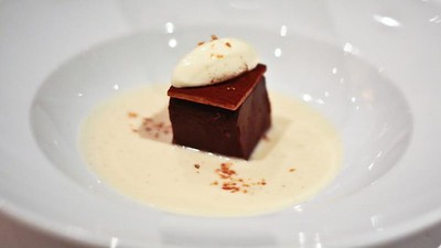 Chocolate Terrine with Mascarpone and Cognac Anglaise