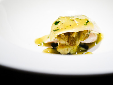 Slow cooked John Dory with Roasted Eggplant