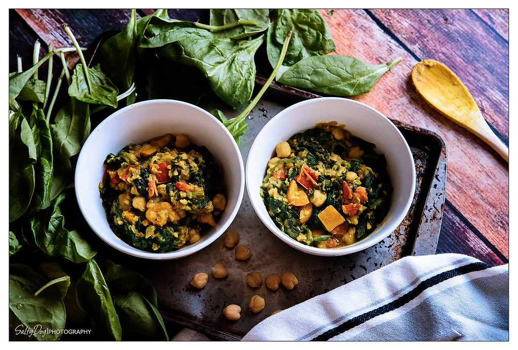Sweet Potato Bowls with Chickpeas, Cauliflower, and Spinach