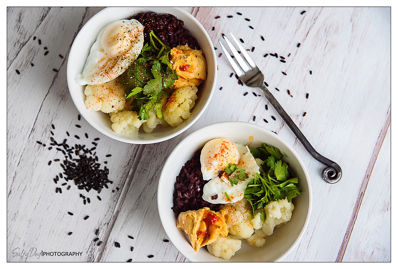 Cauliflower, Black Rice, and Hummus Breakfast Bowl