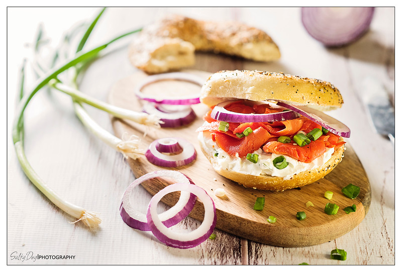 Everything Bagel with Lox, Cream Cheese, and Onions