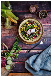 Corn and Red Bean Salad with Radishes & Cucumber