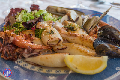 A mixed seafood platter - typical Catalonian cuisine