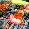 Meat and Vegetable Shish Kebab on the BBQ