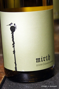 """Corvidae """"Mirth"""" Chardonnay, Colombia Valley, Washington  A clean stainless fermented Chardonnay. This wine is extraordinarily refreshing in its purity of fruit.  Bright acids wrap around a fruit-bowl mix of citrus, pineapple, apple and peach."""