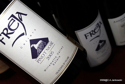 Freja Cellars Pinot Noir, Willamette Valley, Oregon  Medium bodied with fruit flavors of blueberries, black cherry and black currants with a long peppery finish. The name Freja is the goddess of love and fertility in Norse mythology. 1000 cases produced.