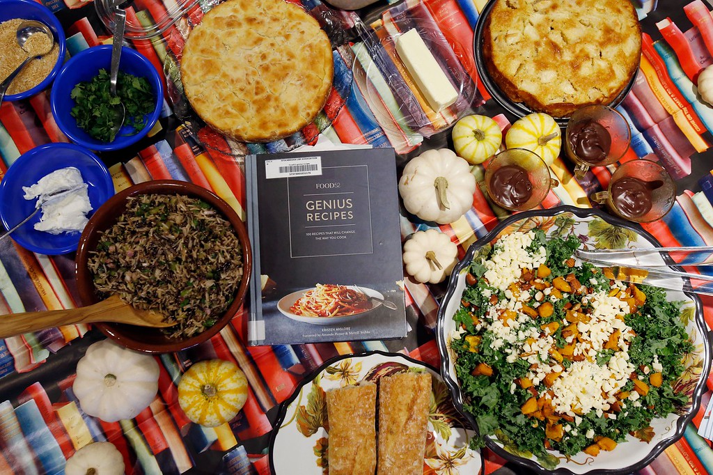 . Local food lovers and makers get together at the Stockbridge Library to share the food they made from recipes found in a different cookbook monthly from the library\'s collection. Thursday, October 6, 2016. Stephanie Zollshan �The Berkshire Eagle | photos.berkshireeagle.com
