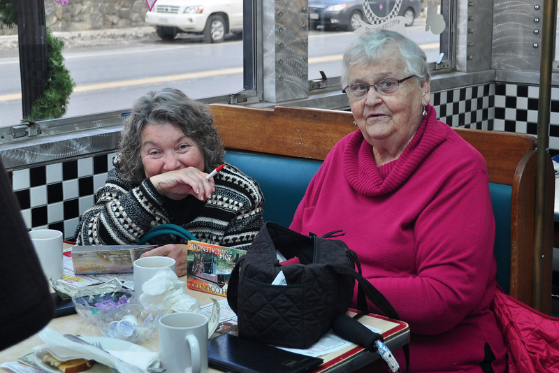 Fran Bedini, of Florida, and Frances Williams, of Williamstown, enjoy breakfast at Izzy's Pizza and Deli in Adams during the diner's grand opening Thursday. (Jack Guerino/North Adams Transcript)